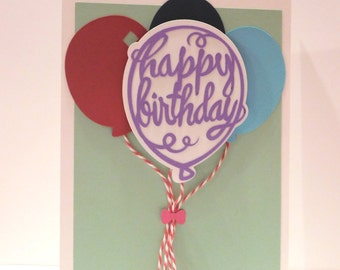 Birthday Card, Balloons, greeting card, blank card, 3D