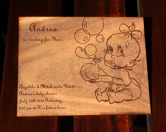 Baby Shower Invitation/ Laser Engraved Wood Baby Shower Invitation Baby with Bubbles