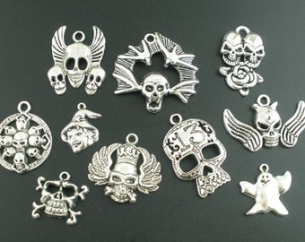 Set of 10 Halloween/Gothic Charms, Antique Silver Finish  (1811)