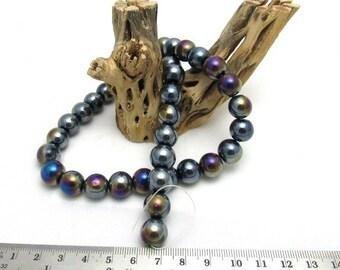1 Strand Rainbow Black 12mm Glass Beads