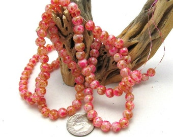 1 Strand Spray Painted 6mm Round Glass Beads Pink/Gold/White (B24c)