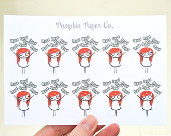 P113 - Payday stickers, money, kawaii payday stickers, pay day, kawaii planner stickers, 10 stickers, PPC2