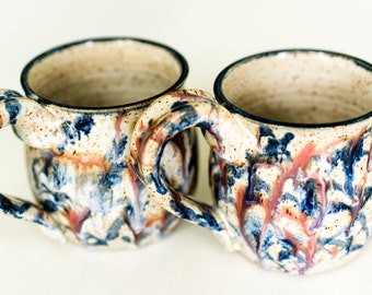 Lukach Oversized Handthrown Stoneware Splatter Mugs