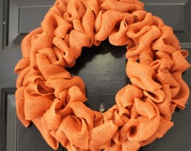Orange Burlap wreath , Fall wreath, Rustic  wreath , Halloween wreath ,Thanksgiving Wreath, DIY Wreath ,Pumkin Wreath , Winter