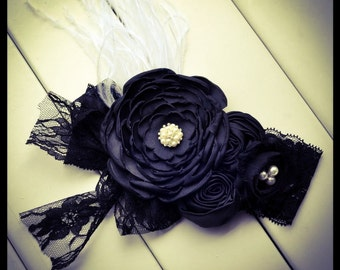 Black Feather and Lace Couture Headband