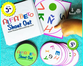 El ALFABETO Espanol Spanish Alphabet MATCHING GAME Shout Out; 31 cards; 1-6 players; up to 31 players 'bingo' style; K-12