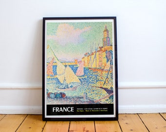 Saint Tropez South of France French Riviera Vintage Travel Poster High Quality Print
