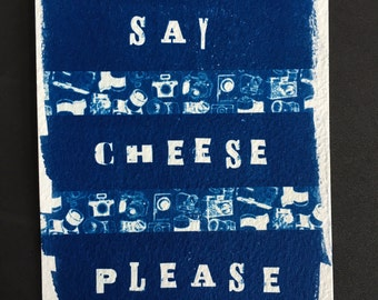 Hand Printed Cyanotype Post Card
