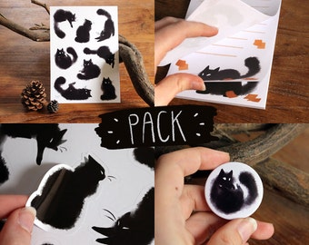 Cats pack - Print stickers, notepad, button