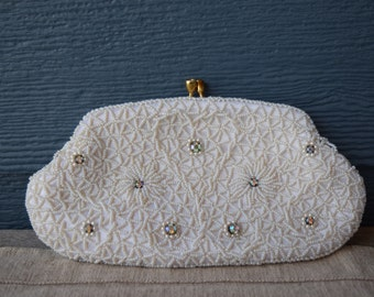 Vintage Beaded Evening Bag, White And Silver Beaded Clutch