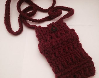 Crochet Burgundy Red Phone Case Pouch