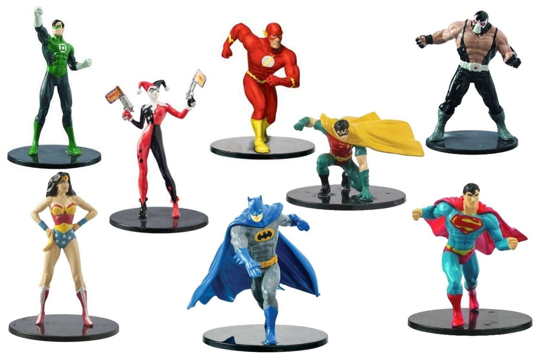 Set of 8 Cake Toppers DC Heroes & Villians Birthday Figure