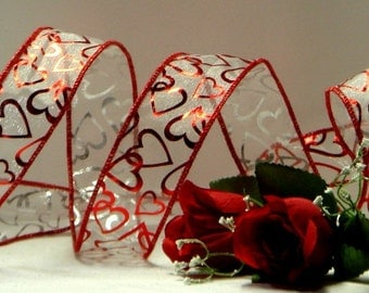 1.5 inch Wired Ribbon ~ Clear Sheer Ribbon with Red Foil Hearts ~ Valentines Ribbon ~ 5 Yards