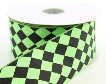 2.5 inchGreen and Black Harlequin Ribbon ~ Green and Black Diamond Ribbon ~ 2.5 inchWired Ribbon ~ 3 Yards