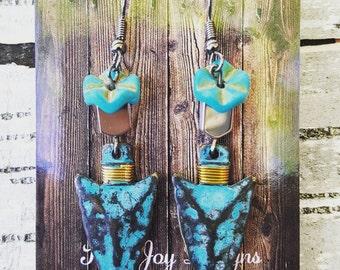 Turquoise Metal Arrow Head Earrings