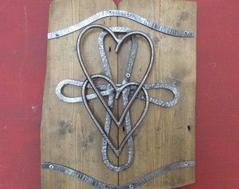 Steel Hearts and Cross on Wood Wall Art Hand Crafted and Unique  BCWA0002
