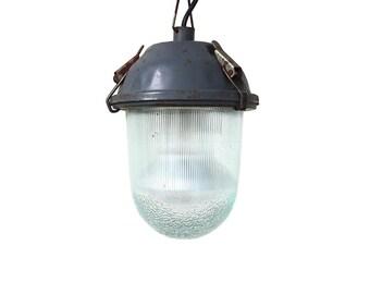 Vintage blue industrial lamp