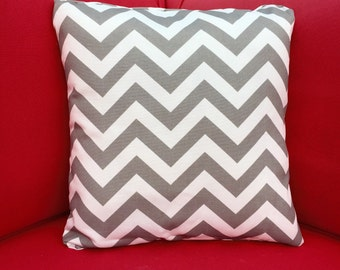 Zig Zag /Chevron Indoor/Outdoor Grey Pillow Cover/ Nautical