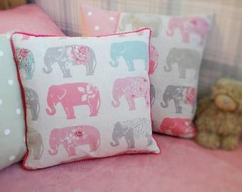 Pink Elephant Cushion, Personalised Kids' Pillow, Children's Cushion, Elephant Decor, Pink & Grey Decor, Baby Girl Gift, Elephant Pillow