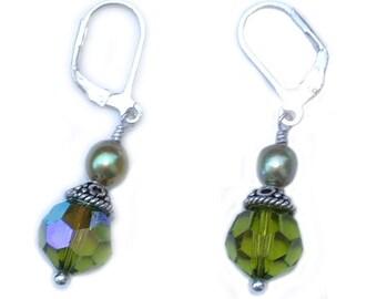Crystal, Pearl and Swarovski Crystal Silver Earrings