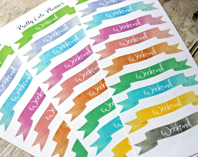 Weekend Banner Planner Stickers - Reminder Stickers - Planner Stickers - Watercolor Weekend Banners - Functional Stickers