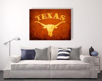 Texas Longhorn Vintage Style Canvas Print Vintage Football Decor College Football Logos Apartment