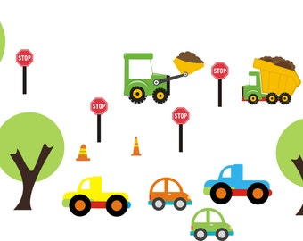 "Nursery Wall Decals - Kids Room Decals - Cars Trucks Decals - Transportation Decals - Bulldozer Decal - Tree Wall Decals - 50"" x 100"""