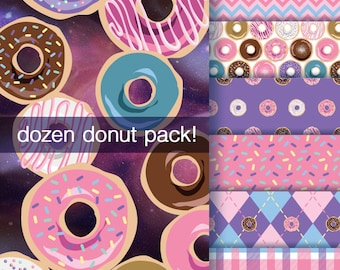 Dozen Donut Clipart Pack - 6 Patterns, 12 Donuts - Hi-Res 300 DPI