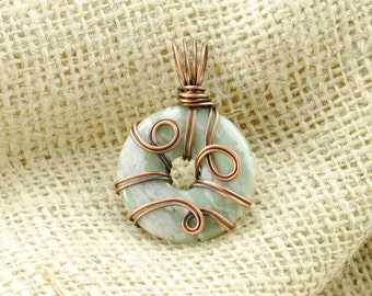 Antiqued Copper Wire-Wrapped Peace Jade Donut Pendant - 30mm