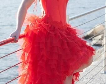 ON SALE red wedding dress in satin silk.