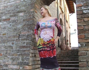 ON SALE Floral cotton knitting dress.