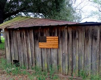 Cedar Wooden American Flag