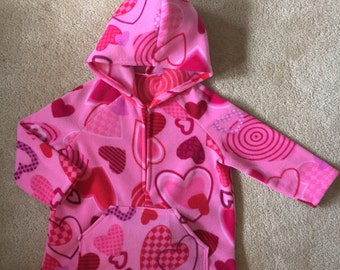 Hooded fleece jacket with pocket - Hearts