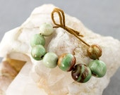 Green and brown glazed porcelain bead set-Ronnie's beads