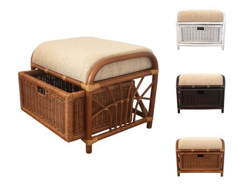 rattan ottoman footstool storage vanity bench model jerry 1drawer with cushion 3colors