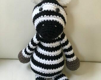 Amigurumi Zebra/Crochet Zebra/Zebra Stuffed Animal/Zebra Toy/Safari Animal/Safari Toy/Zebra Plushie/Baby Shower Gift. **Ready to Ship**
