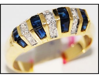 18K Yellow Gold Natural Diamond Gemstone Blue Sapphire Ring [RR035]