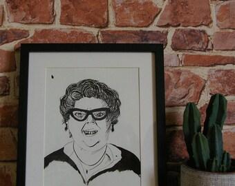 Portrait in China under framework - original drawing ink