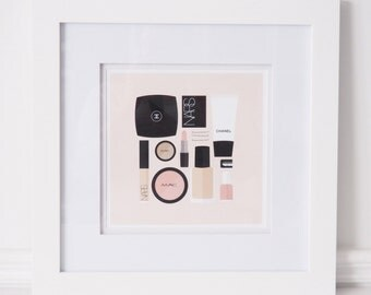 Flat Lay Illustration | Makeup Drawer | Girly Print | Fashion Print | Makeup Print