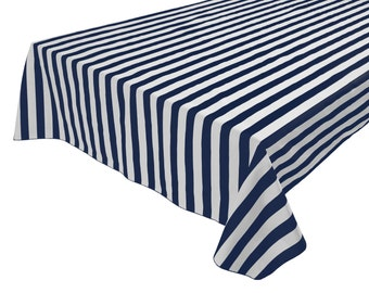 Cotton Table Cloth Stripes / Lines 1 Inch Stripes Navy & White