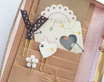 Mini Paper File Folder and Paperclip Set