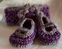 Baby Booties, Baby Mary Janes Headband Set, Handmade Crochet Fashion, 3-6mos, Photography Prop