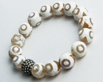 White Tibetan Agate Bracelet