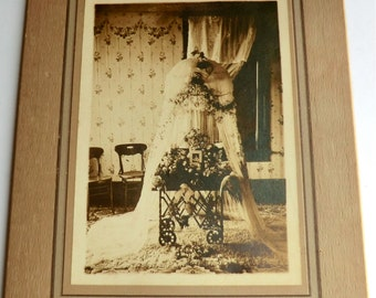 Mourning Photo Baby Casket Netting Flowers Lost Infant Son