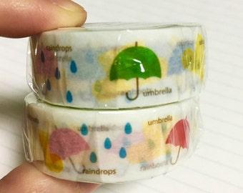 Rainy day, umbrella, rainboots washi masking tape