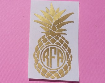 Pineapple Monogram Decal - Gold Monogram | Gold Pineapple | Be a Pineapple | Planner Decal