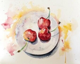 "Original Watercolour - Free shipping ""3 cherries"" (nature kitchen plate recipe fruit was fresh red yellow)"