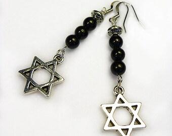 Tourmaline Earrings/ Black Tourmaline Earrings/ Pentacle Earrings/ Pentagram Earrings