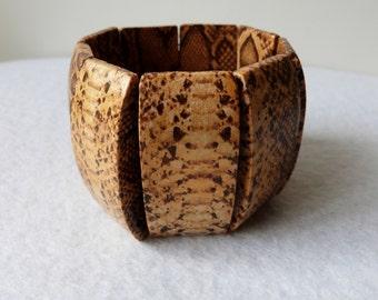 Bracelet manchette imprimé animal python, inspiration africaine
