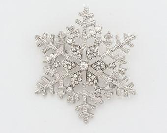 Silver Snowflake Brooch Winter Wedding Brooch Bridal Bouquet Snowflake Brooch DIY Jewelry Clear Silver Snowflake Brooch
